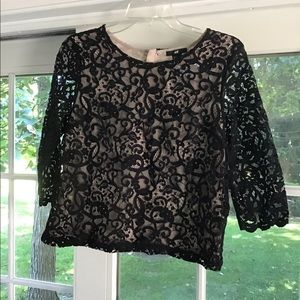 Nude/Black Lace Shirt